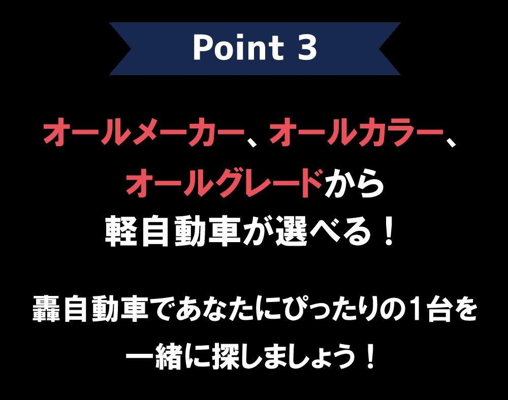 Point3:オールメーカー、オールカラー、オールグレードから選べる